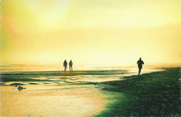 Silhouettes of People Enjoying a Foggy Beach at Sunset