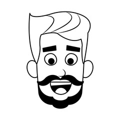 Young man face with beard cartoon vector illustration graphic design