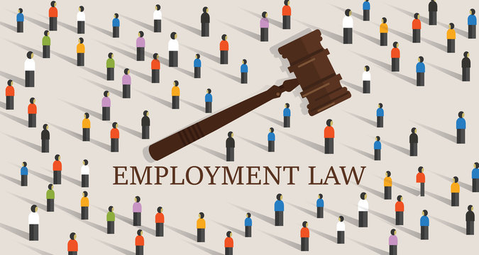 employment law labor legislation a gavel and people cowd. concept of legal education.