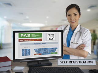 Wall Mural - Self registration application for patient on computer monitor with female doctor.