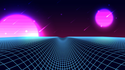 Wireframe background landscape. 1980s retro wave style. Sci-Fi futuristic vector illustration with a starfall.