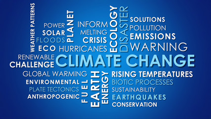 Climate Change related animated text word cloud, dark blue background.