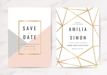 Wall Mural - Luxury wedding invitation cards with gold marble texture and geometric pattern vector design template