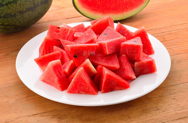 Watermelon on a wooden background