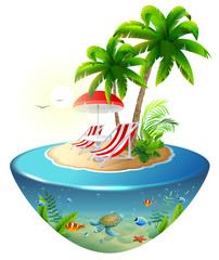 Secluded vacation on tropical island. Two chaise lounge, palm tree and underwater world