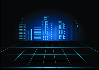 Abstract technology futuristic background of digital cityscape with lined building.