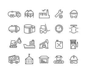 Simple Set of Industrial vector thin line icons, Editable Stroke linear symbols