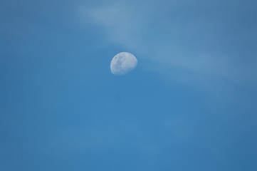 moon in sky blue