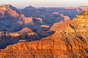 Orange Colors of Grand Canyon Just Before The Sunset. Panoramic view from Mather Point.