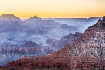 Foggy Sunrise in Grand Canyon. Overview from Mather Point.