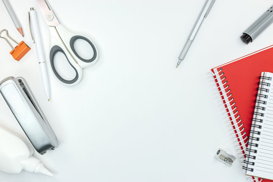 various of stationary items for office work on white table background