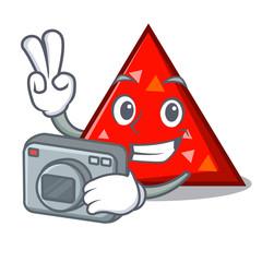 Photographer triangel mascot cartoon style