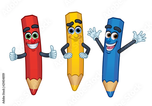 3 Cartoon Character Crayons Red Yellow And Blue Vector - Cartoon-pictures-of-crayons