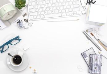 Top view white feminine office desk hero header