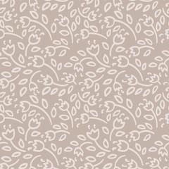 Simple nude flowers seamless pattern. Vector illustration.