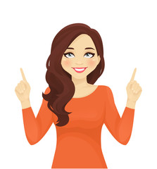 Smiling woman pointing looking up isolated vector illustration