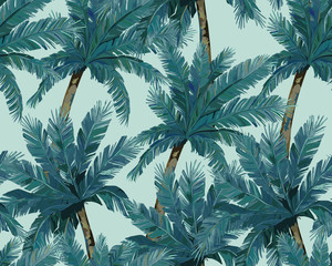 Summer seamless pattern. Tropical palm trees background. Jungle print. Vector illustration