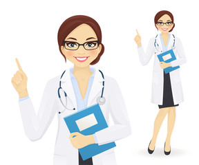 Female doctor pointing finger up isolated vector illustration