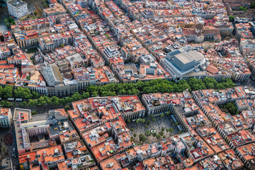 Aerial view of Barcelona Old Town streets and famous La Rambla boardwalk, Spain