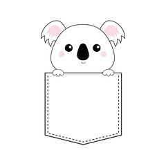 Koala bear head face in the pocket. Holding paw hands. Doodle linear sketch. Cute cartoon character. T-shirt design. Dash line. Pet animal. White black color. Baby background. Flat design