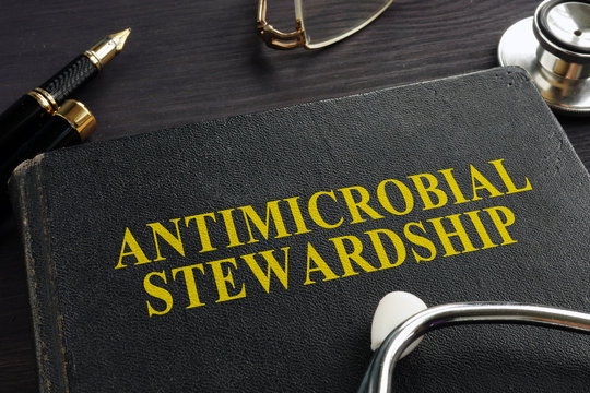 Book about Antimicrobial stewardship (AMS) and stethoscope.
