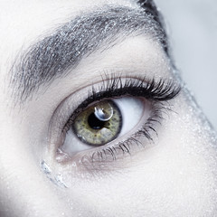 Female eye. Closeup beauty portrait of young woman face