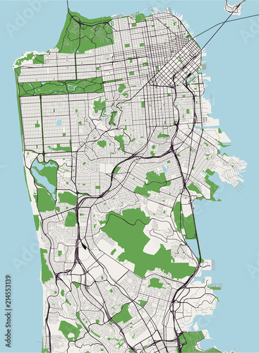 map of the city of San Francisco, USA\