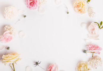 Sweet color fabric roses and white ribbon in soft style for background. Overhead top view, flat lay. Copy space. Wedding, Birthday, Mother's, Valentines, Women's Day concept