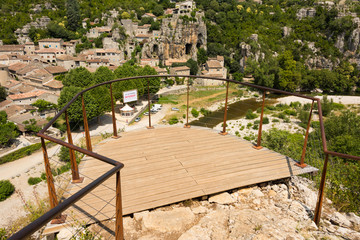 Viewing platform with a beautiful view of the medieval village Labeaume on the Ardeche in southern France