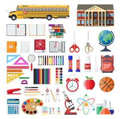 Big school set. School supplies, stationery