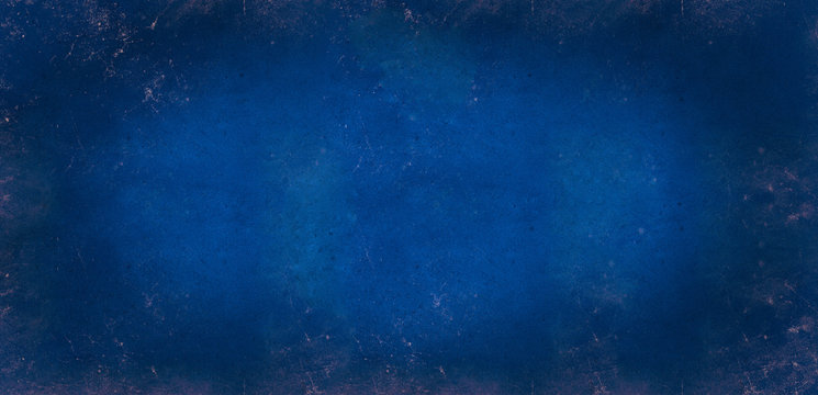 Blue grey dark background of school blackboard colored texture. Blue black vignetted aged texture background. Long format