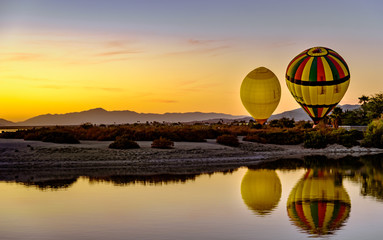 Salton Sea hot air balloon reflections