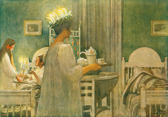 Lucia..aus:..Carl Larsson:..Lasst Licht hinein, Berlin 1909, Nr. 12..