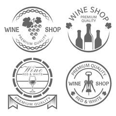 Wine shop set of vector monochrome vintage labels