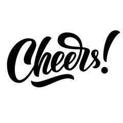 Cheers hand lettering, custom typography, black ink brush calligraphy, isolated on white background. Vector type illustration.