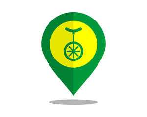 one wheel marker pin path image vector icon logo