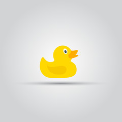 Rubber duck toy isolated vector colored icon