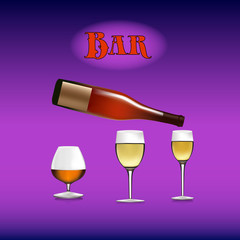 Banner for a bar, bottle of wine poured into a wine glass, cartoon on a purple background,
