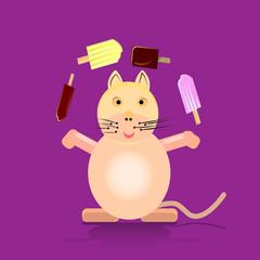 Cartoon cat juggles with ice cream on stick, flat style on purple background,
