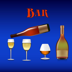 Banner for a bar, bottles and wine glasses for drinks, cartoon on a blue background,