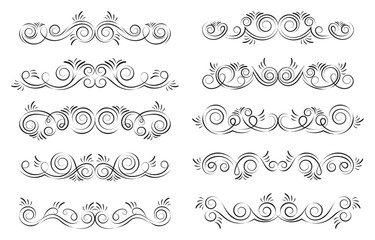 Calligraphic black and elegant swirl dividers collection. Set of curls and scrolls for wall decoration, page decoration, greeting cards and tattoos. Vector calligraphic design elements illustration.