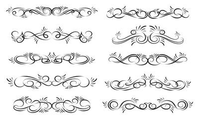 Set of decorative borders. Dividers for calligraphy graphic design, postcard, menu, wedding invitation, romantic style. Black elements on white background. Vector illustration.