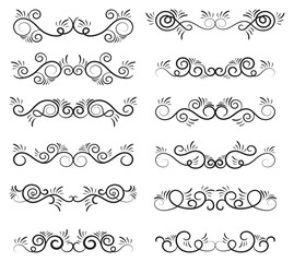 Calligraphic dividers design. Decorative elements and calligraphic borders isolated on white. Vector illustration.