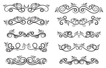 Design curls and scrolls set. Decorative elements for frames. Elegant swirl vector illustration.