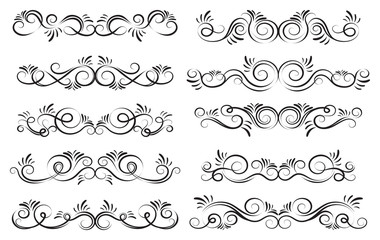 Curls and scrolls set. Decorative elements for frames. Elegant design swirl vector illustration.