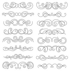 Calligraphic design elements. Thin line dividers and borders. Set of curls and scrolls for wall decoration, books, cards and tattoos. Swirls Vector Illustration.