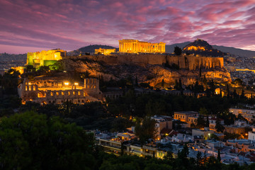 Parthenon temple in Acropolis Hill in Athens, Greece at dusk