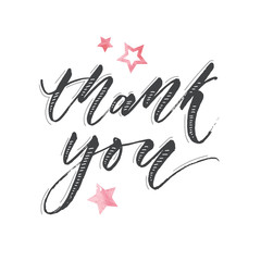 Thank you Watercolor Lettering Calligraphy Vector
