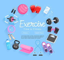Set of Exercises equipment. Vector Illustrations.