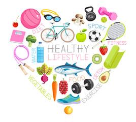 Healthy lifestyle conceptual design. Vector Illustrations.
